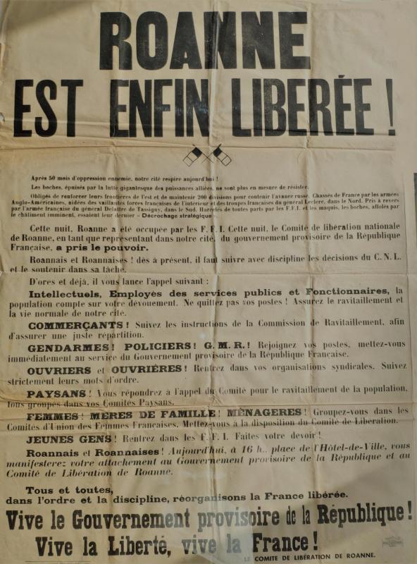 Affiche du 22 aout 1944 roanne liberee