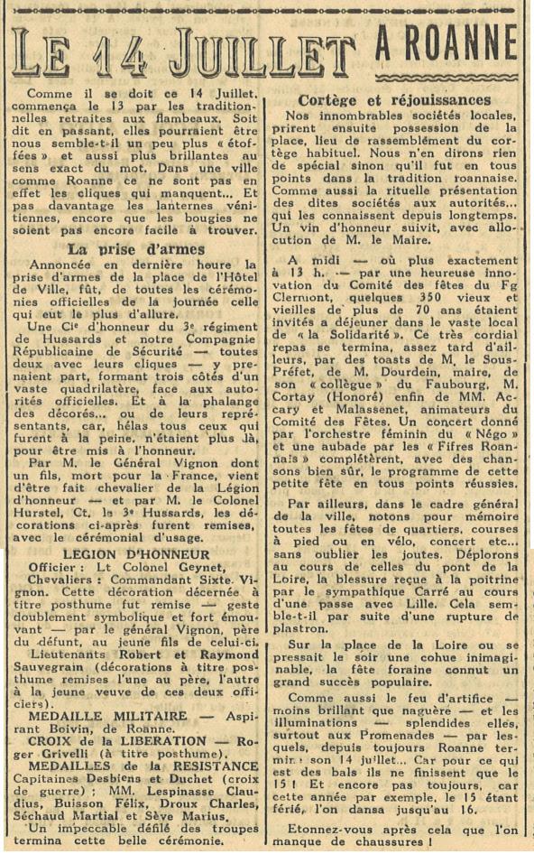 Extrait journal du 14 juillet 1946