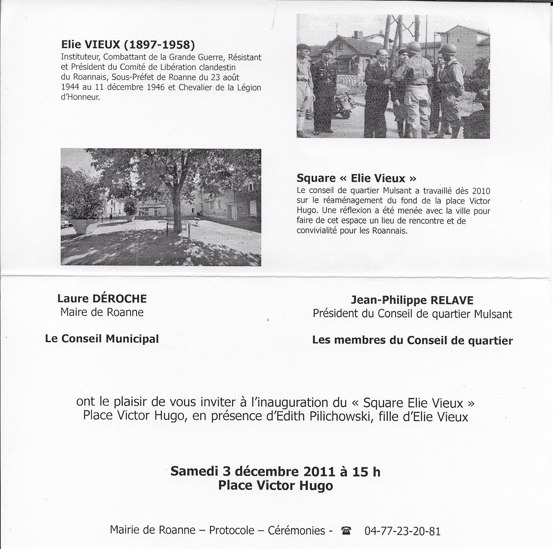 Inauguration Du Square Elie Vieux