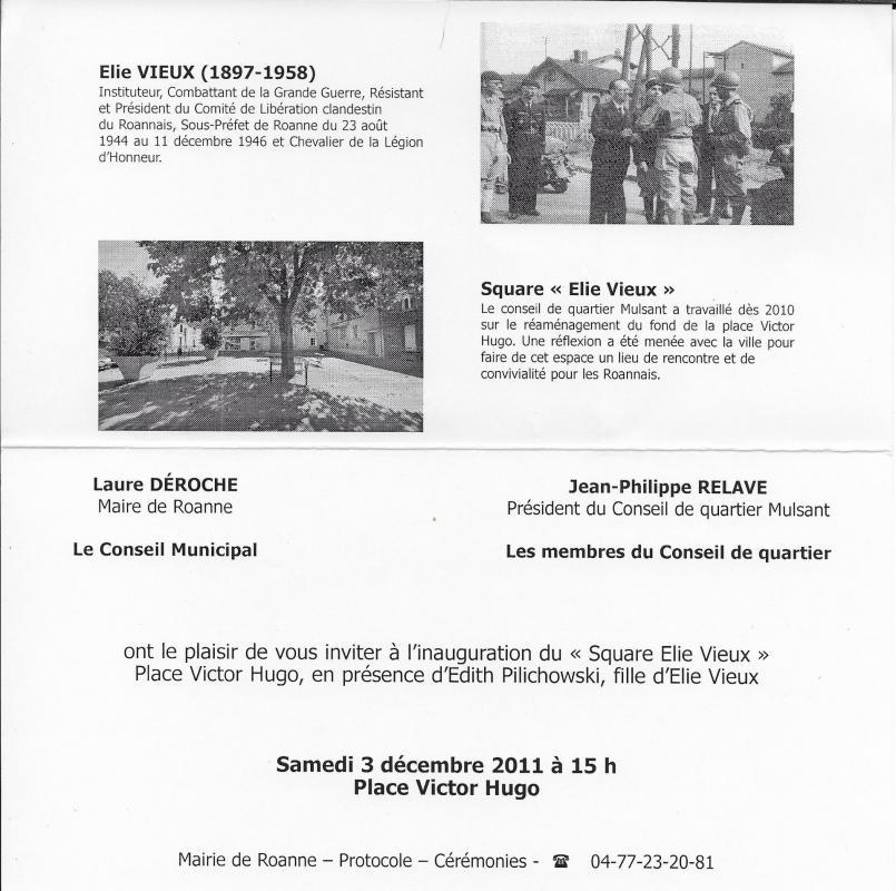 Invitation inauguration square elie vieux