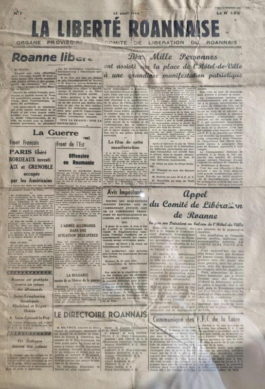 La liberte roannais n 1 23 aout 1944 recto