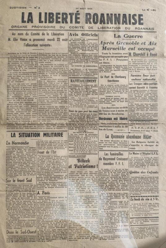 La liberte roannais n 2 24 aout 1944 recto