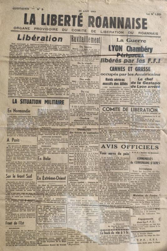 La liberte roannais n 3 25 aout 1944 recto