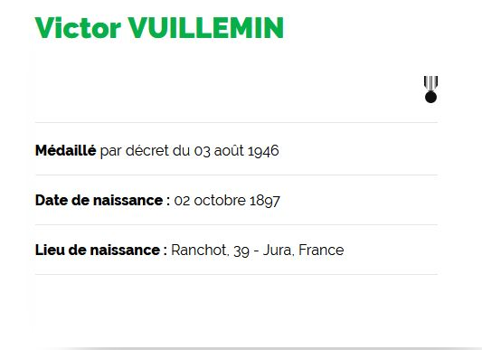 Victor vuillemin -medaille de la resistance - site de l odre de la liberation