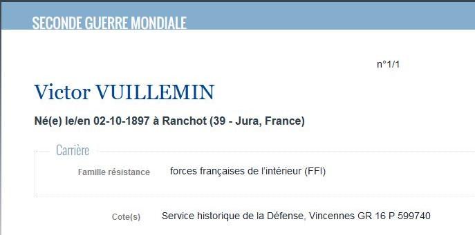 Victor vuillemin site du ministere de la defense memoire des hommes