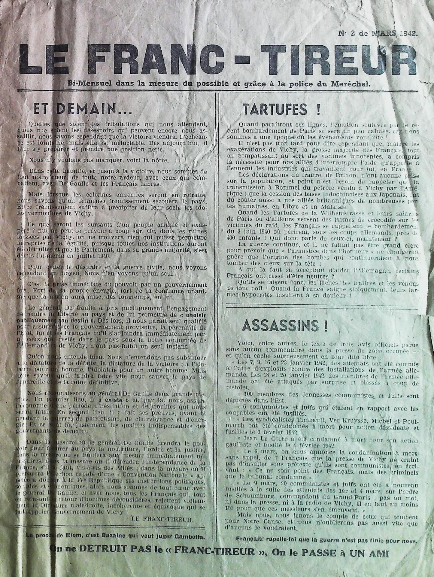 1942 le franc tireur n 2 de mars 1942